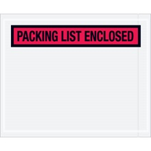"4 1/2"" x 5 1/2"" Red ""Packing List Enclosed"" Envelopes"